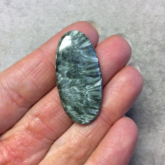 OOAK Natural Green Seraphinite Oblong Oval Shaped Flat Back Cabochon - Measuring 19mm x 39mm, 4.5mm Dome Height - Gemstone Cab