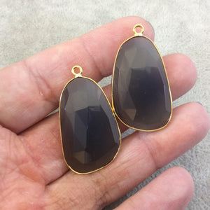 "One Pair of OOAK Gold Plated Natural Gray Green Agate Freeform Shaped Bezel Pendants ""AP2""- Measuring 20mm x 32mm - High Quality Gemstone"