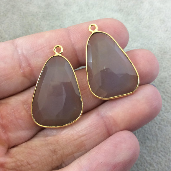 One Pair of OOAK Gold Plated Natural Gray Brown Agate Freeform Shaped Bezel Pendants