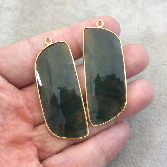 One Pair of OOAK Gold Plated Natural Green Moss Agate Freeform Shaped Bezel Pendants - Measuring 19mm x 47mm - High Quality Gemstone