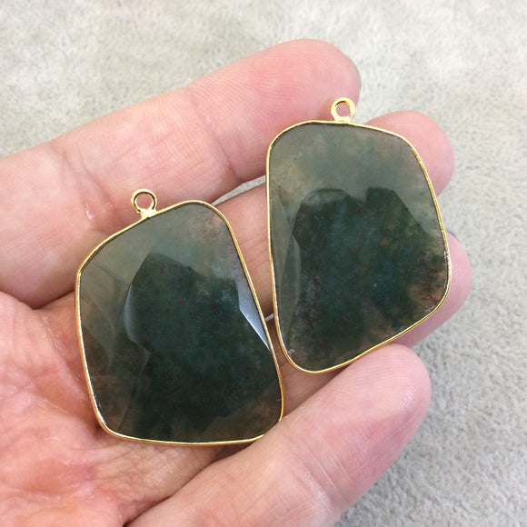 One Pair of OOAK Gold Plated Natural Green Moss Agate Freeform Shaped Bezel Pendants - Measuring 26mm x 36mm - High Quality Gemstone