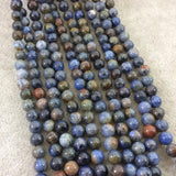 "6mm Glossy Finish Natural Mixed Blue Dumortierite Round/Ball Shaped Beads with 1mm Holes - Sold by 15"" Strands (Approx. 62 Beads)"