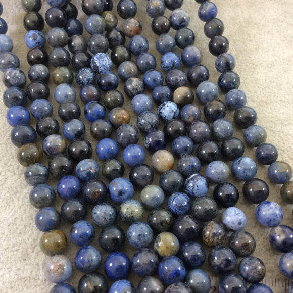 8mm Glossy Finish Natural Mixed Blue Dumortierite Round/Ball Shaped Beads with 1mm Holes - Sold by 15.5