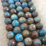 "14mm Faceted Finish Enhanced ""Blue Sky"" Calsilica Jasper Round/Ball Shaped Beads with 1mm Holes - Sold by 15"" Strands (Approx. 32 Beads)"