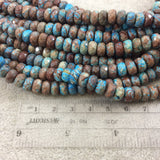 "5mm x 8mm Faceted Finish Enhanced ""Blue Sky"" Calsilica Jasper Rondelle Shaped Beads with 1mm Holes - 15.25"" Strands (Approx. 79 Beads)"