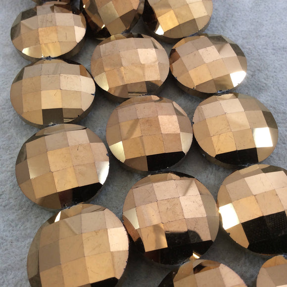 Chinese Crystal Beads | 30mm Metallic AB Finish Faceted Opaque Bronze Chinese Crystal Coin Glass Beads