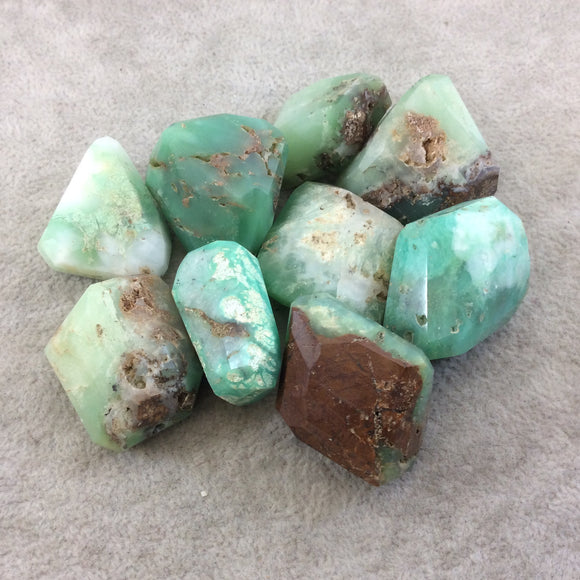 25-35mm Large Faceted Chrysoprase Earthy Nugget Bead - Sold Individually, Randomly Chosen - Quality Hand-Cut Indian Semi-Precious Gemstone