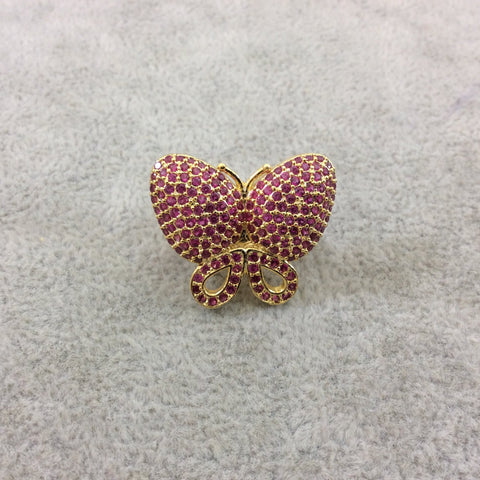 Gold Plated CZ Cubic Zirconia Inlaid Pink Butterfly Bolo Slide Copper - Measures 23mm x 28mm, Approx. - Sold Individually, RANDOM