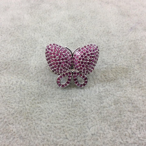 Silver Plated CZ Cubic Zirconia Inlaid Pink Butterfly Bolo Slide Copper - Measures 23mm x 28mm, Approx. - Sold Individually, RANDOM