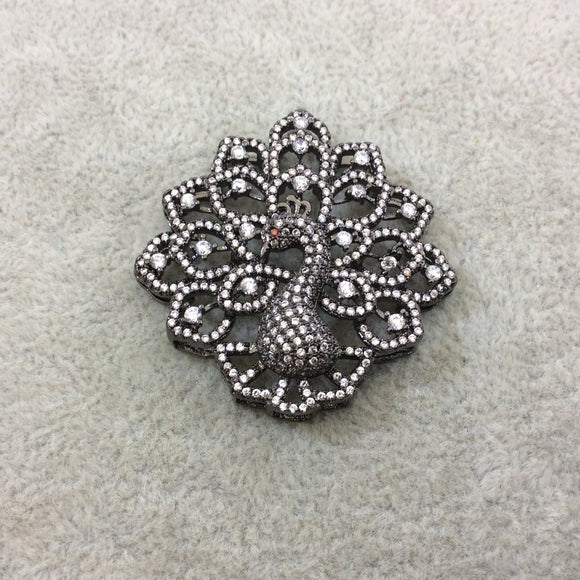 Gunmetal Plated CZ Cubic Zirconia Inlaid Fancy Peacock Copper Slider - Measures 40mm x 40mm, Approx. - Sold Individually, RANDOM