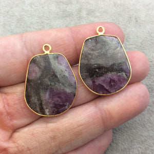 "One Pair of OOAK Gold Finish Faceted Ruby in Feldspar Freeform Shaped Bezel Pendants ""RP5""- Measuring 22mm x 26mm - Natural Gemstone"