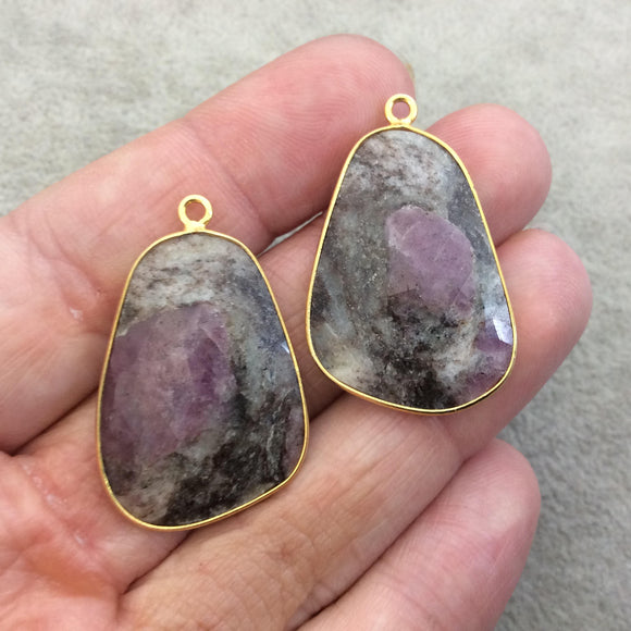 One Pair of OOAK Gold Finish Faceted Ruby in Feldspar Freeform Shaped Bezel Pendants