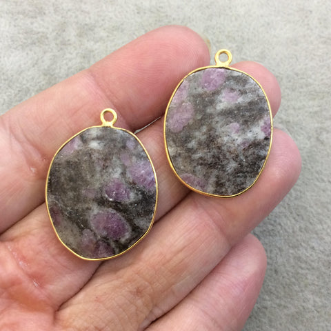 "One Pair of OOAK Gold Finish Faceted Ruby in Feldspar Freeform Shaped Bezel Pendants ""RP15""- Measuring 23mm x 27mm - Natural Gemstone"