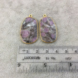 "One Pair of OOAK Gold Finish Faceted Ruby in Feldspar Freeform Shaped Bezel Pendants ""RP16""- Measuring 19mm x 31mm - Natural Gemstone"