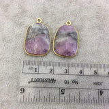 "One Pair of OOAK Gold Finish Faceted Ruby in Feldspar Freeform Shaped Bezel Pendants ""RP9""- Measuring 17mm x 23mm - Natural Gemstone"
