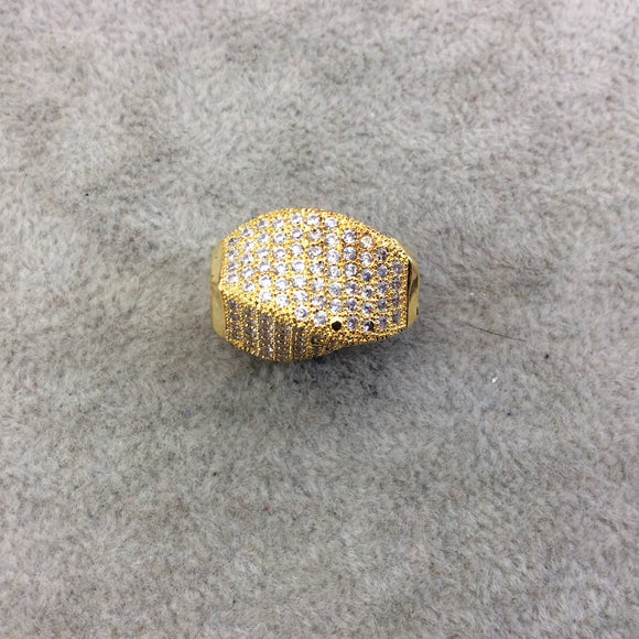 Gold Plated CZ Cubic Zirconia Inlaid Twisted Barrel Bead  - Measures 13mmx20mm, Approx. - Sold Individually, RANDOM