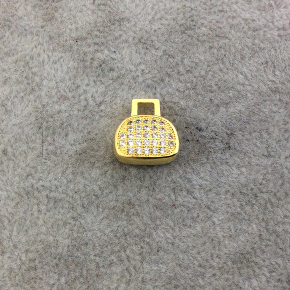 Gold Plated CZ Cubic Zirconia Inlaid Purse Shaped Bead  - Measures 12mmx12mm, Approx. - Sold Individually, RANDOM