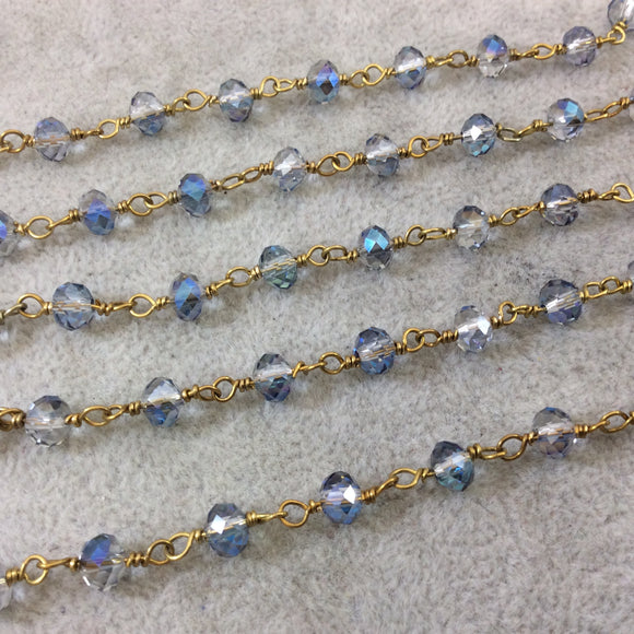 Gold Plated Copper Wrapped Rosary Chain with 6mm Faceted Trans. Blue & Gray Glass Crystal Rondelle Beads - Sold by the Foot (RC46-096-GD)