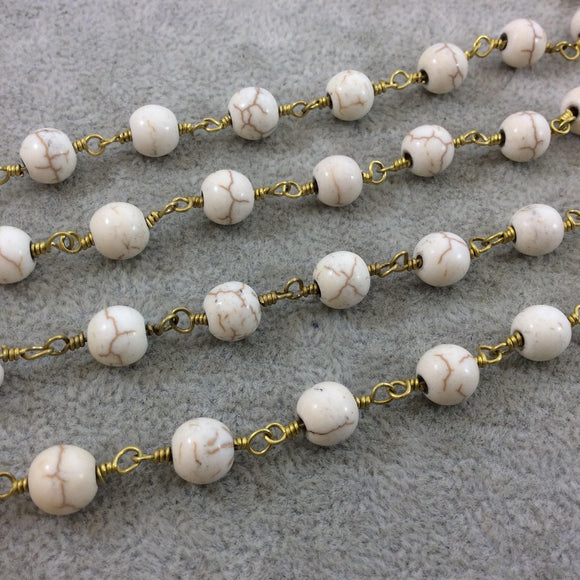 Gold Plated Copper Wrapped Rosary Chain with 8mm Smooth Natural Ivory Howlite Round Shaped Beads - Sold by the foot! (CH397-GD)