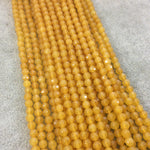 "4mm Faceted Mustard Yellow Agate Round/Ball Shaped Beads - 14.75"" Strand (Approximately 95 Beads) - Natural Semi-Precious Gemstone"