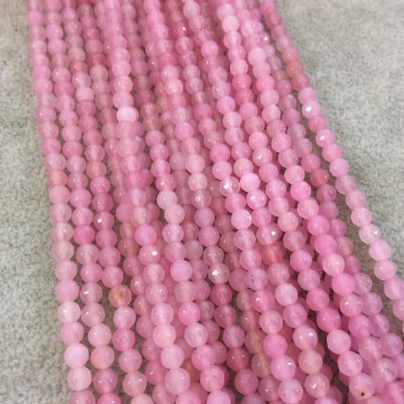 4mm Faceted Light Pink Agate Round/Ball Shaped Beads - 14.75