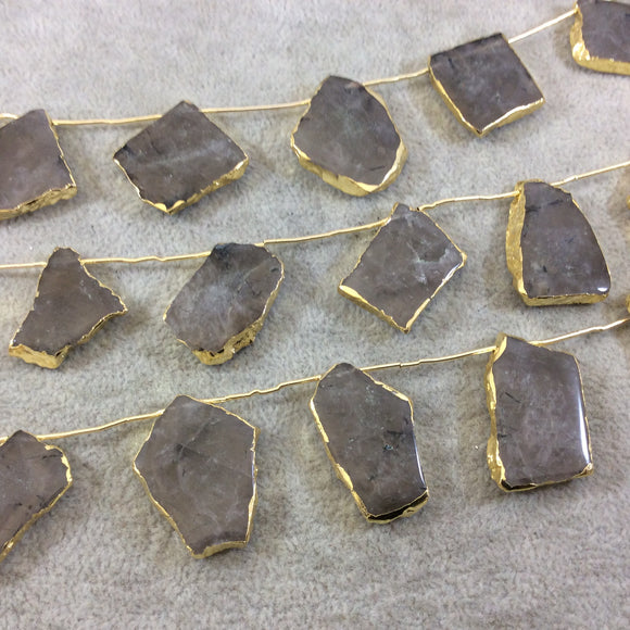 Gold Electroplated Smooth Freeform Slab Shaped Natural Smoky Quartz Top-Drilled Beads - 10.5