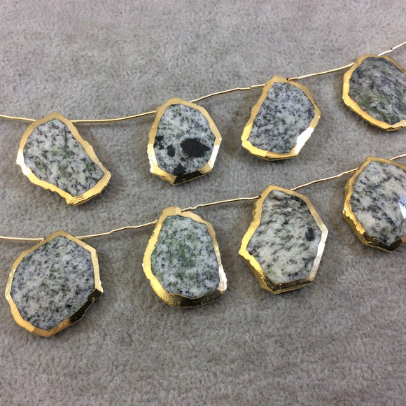 Gold Electroplated Faceted Freeform Slab Shaped Natural Speckled Feldspar Top-Drilled Beads - 9
