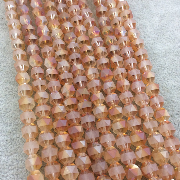 Chinese Crystal Beads | 8mm Matte Stripe Glossy Faceted Transparent AB Bicolor Peach Orange Round Glass Beads