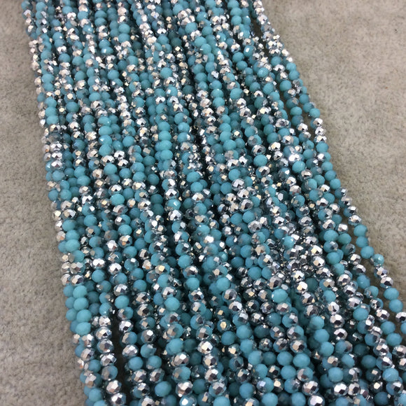 Chinese Crystal Beads | 3mm Faceted Bicolor Aqua Blue Silver Rondelle Shaped Glass Beads