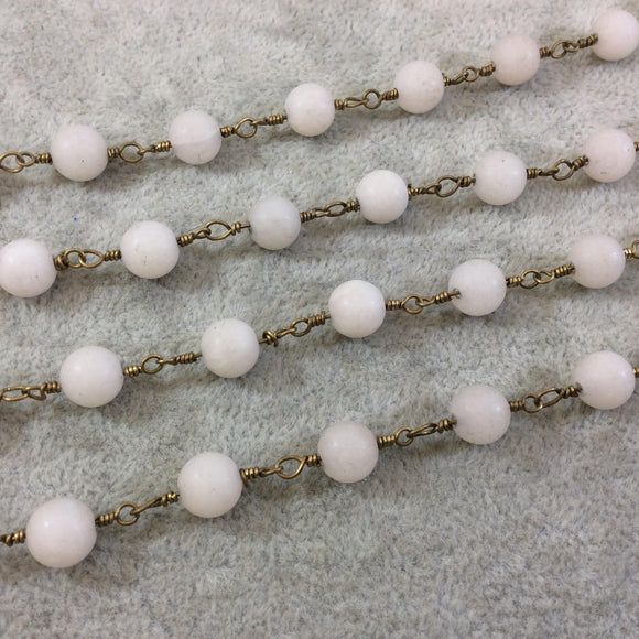 Brass Plated Copper Wrapped Rosary Chain with 8mm Matte Ivory/Off-White Round Shaped Beads - Sold by the foot! (CH419-BR)