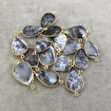 Gold Plated Natural Dendritic Opal Faceted Teardrop Shaped Copper Bezel Connector - 22mm Long, Approx. - Sold Individually, Random!