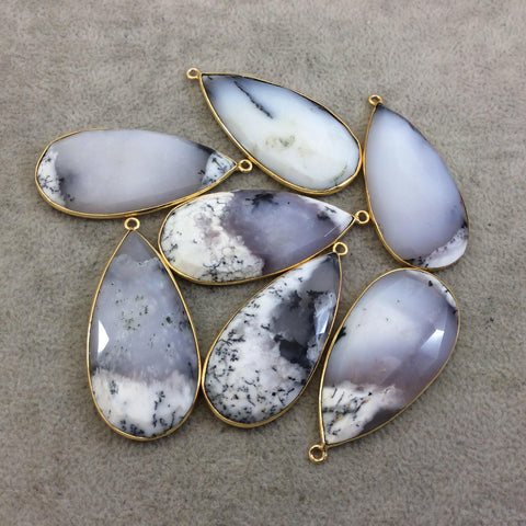 Gold Plated Natural Dendritic Opal Flat Back Faceted Teardrop Shaped Copper Bezel Pendant - ~ 20mm x 40-45mm Long, Random, Individual!