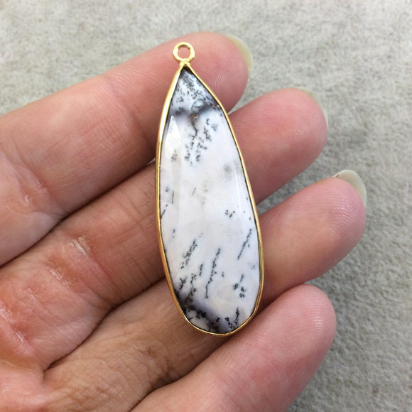 One OOAK Gold Plated Faceted Dendritic Opal Teardrop  Shaped Bezel Pendant - Measures ~ 16mmx46mm - Natural Gemstone