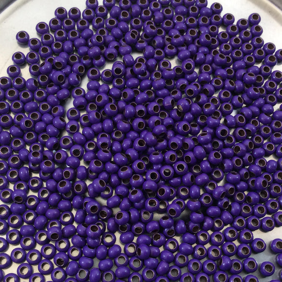 Size 11/0 Glossy Finish Purple Coated Brass Seed Beads with 1.1mm Holes - Sold by 2
