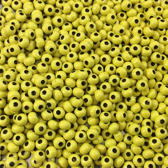 Size 8/0 Glossy Finish Yellow Coated Brass Seed Beads with 1.1mm Holes - Sold by 5