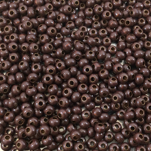 "Size 8/0 Glossy Finish Dark Brown Coated Brass Seed Beads with 1.1mm Holes - Sold by 5"", 36 Gram Tubes (~900 Beads per Tube) - (MT8-DKBRN)"