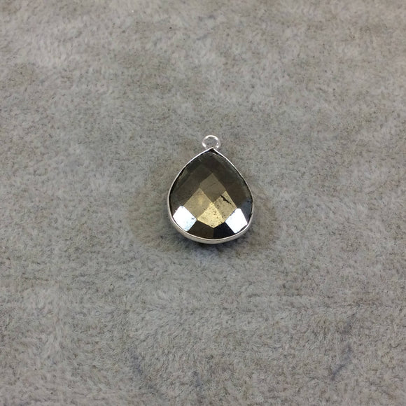 Sterling Silver Faceted Teardrop Shaped Natural Pyrite Bezel Pendant Component - Measuring 15mmx20mm - Sold Individually, Random