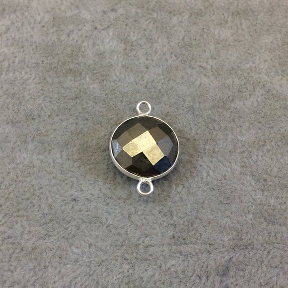 Sterling Silver Faceted Round/Coin Shaped Natural Pyrite Bezel Connector Component - Measuring 16mm - Sold Individually, Random