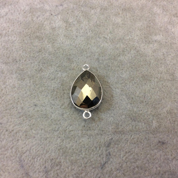 Sterling Silver Faceted Teardrop Shaped Natural Pyrite Bezel Connector Component - Measuring 14mmx18mm - Sold Individually, Random