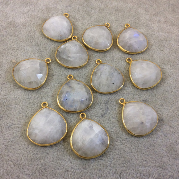 Jeweler's Lot OOAK Gold Plated Natural Moonstone Faceted Flat Back Heart Assorted Copper Bezel Pendants