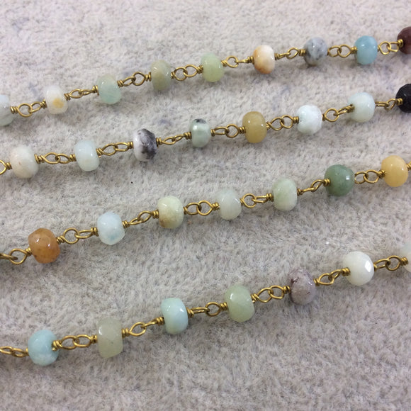 Gold Plated Copper Wrapped Rosary Chain with 4mm x 6mm Faceted Natural Amazonite Rondelle Shaped Beads - Sold by the Foot!  (CH314-GD)