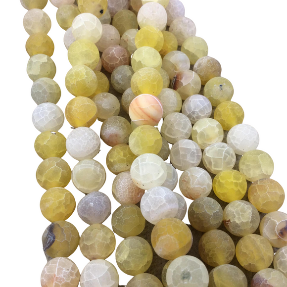 10mm Natural Matte Light Yellow Crackle/Veined Agate Round/Ball Shaped Beads with 1mm Holes - 14.5