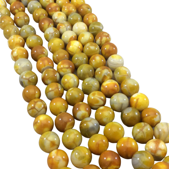 10mm Smooth Yellow Mottled Dyed Agate Round/Ball Shaped Beads with 1mm Holes - Sold by 15.75