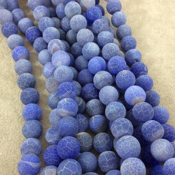 12mm Natural Matte Indigo Crackle/Veined Agate Round/Ball Shaped Beads with 1mm Holes - 15.25