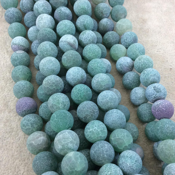 12mm Natural Matte Green Crackle/Veined Agate Round/Ball Shaped Beads with 1mm Holes - 15.25