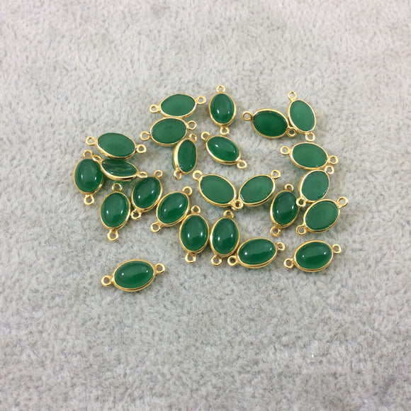 BULK LOT - Pack of Six (6) Gold Vermeil Flat Back Smooth Oblong Oval Shaped Natural Green Onyx Bezel Connectors - Measures 5mm x 7mm
