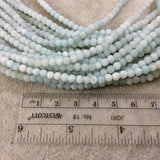 "4mm Matte Smooth Round Blue-Green Amazonite Beads - 15.75"" Strand (Approximately 106 Beads) - Natural Semi-Precious Gemstone"