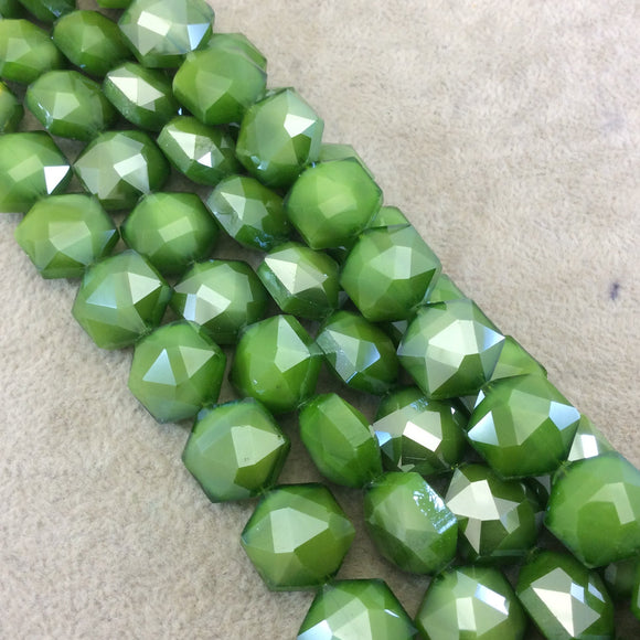 Chinese Crystal Beads | 15mm x 15mm Glossy Finish Faceted Bright Green Hexagon Glass Beads