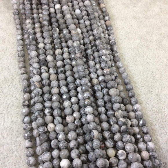4mm Faceted Round Shaped Gray Leopard Jasper Beads with .8mm Holes - 15