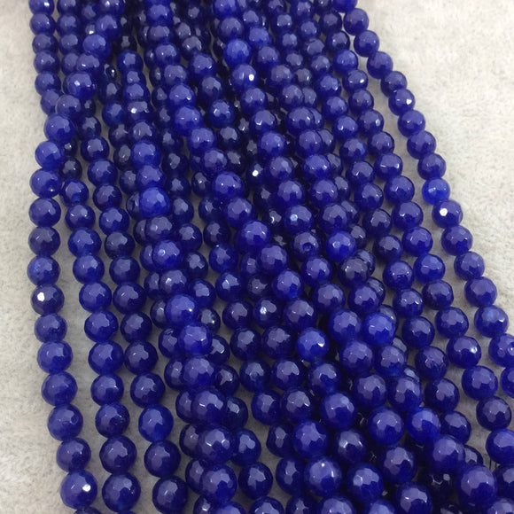 6mm Faceted Cadet Blue Agate Round/Ball Shaped Beads - 15.5